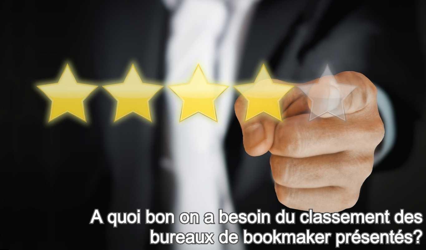 A quoi bon on a besoin du classement des bureaux de bookmaker présentés?